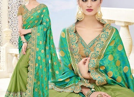 Charming Two Tone Green Banarasi Silk Embroidered Indian Half Sari