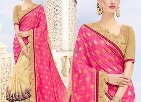 Ephemeral Pink N Cream Banarasi Silk Embroidered Half Saree Design