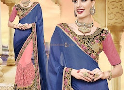 Delightful Blue And Peach Georgette Half And Half Sari