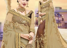 Pleasing Beige And Brown Embroidered Georgette Half Sari Online