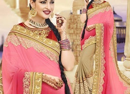Pretty Pink And Beige Embroidered Georgette Half Saree Design