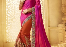 PRODIGIOUS BOOTI WORK HALF N HALF TRENDY SAREE FOR WEDDING