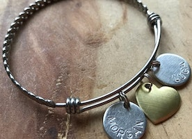 Personalized Bangle with heart charm and name(s)