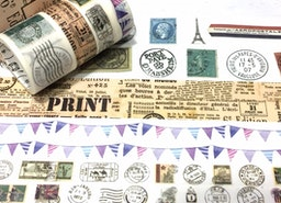 4 rolls classic stamp chop postage stamp Washi tape vintage newspaper flags banner stamp vector travel chop stamp pretend passport themed