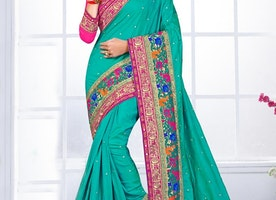 VERSATILE SILK EMBROIDERED WORK TRENDY CLASSIC SAREE FOR BRIDAL