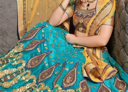 DESIRABLE STONE WORK TURQUOISE COLOR DESIGNER LEHENGA CHOLI