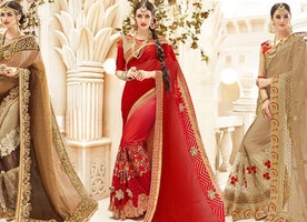 Designer Saree Blouse: Fashionable Embroidered Sarees Models Collection Online Shopping at Low Price