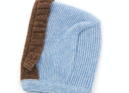 BUY FOQUE LOVELY DUSTY BLUE AND BROWN KNITTED BONNET