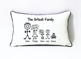 custom stick family pillow cover-Xmas gift for mom-fathers day gift from daughter-funny stick man pillow-cotton anniversary gift for parents