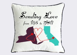 California New York state long distance relationship pillow case-mother daughter present-sister birthday gift-sending love from me to you