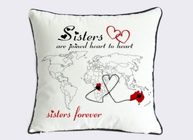 long distance sister pillow case-custom little sister world map gift-sister in law present-sisters are joined heart to heart-sister forever
