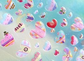 colorful heart epoxy sticker rainbow heart sweet heart Sticker patchwork heart flowers dots heart shape fancy heart pattern sticker decor