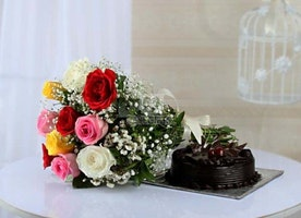 Buy 10 Mix Roses and Half Kg Cake Online Same Day Delivery - OyeGifts.com