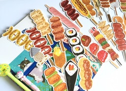 30 barbecue food die cut card bbq party food on a stick grilling hot dog sausage shrimp embellishment card food drawing food party decor