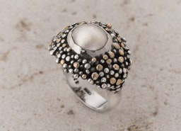 Pearl Ring, Gold & Silver Pearl Ring, Alternative Ring