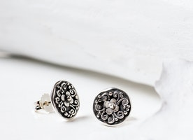 Tiny Sterling Silver Stud Earrings - Artisan Earrings