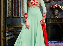 ATTRACTIVE EMBROIDERED WORK FAUX GEORGETTE LONG LENGTH ANARKALI SUIT FOR FESTIVAL