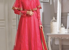 DELIGHTSOME ART SILK EMBROIDERED WORK DESIGNER ANKLE LENGTH ANARKALI SUIT