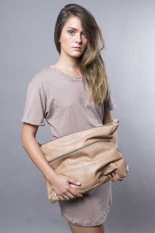 FREE SHIPPING Tan Nude leather bag - Leather shoulder bag - Leather purse SALE crossbody bag - brown leather bag - Laptop leather bag women