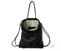 Black leather tote - leather backpack - multi-way leather bag SALE laptop bag - leather handbag drawstring backpack rucksack leather purse