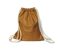 Camel brown leather backpack- multi sack bag SALE! - tote bag- laptop backpack- shopper bag- drawstring backpack- leather rucksack