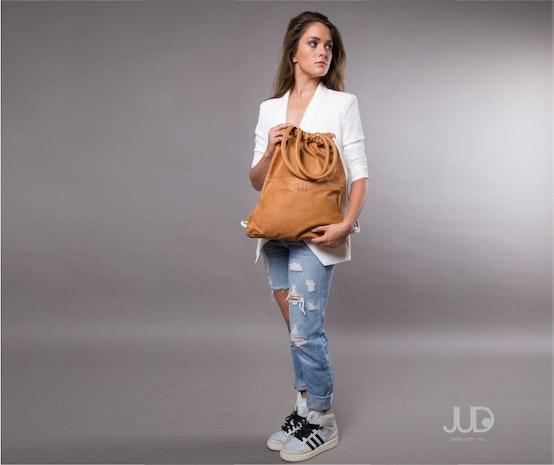 Camel brown leather backpack- multi sack bag SALE! - tote bag- laptop backpack- shopper bag- drawstring backpack- leather rucksack