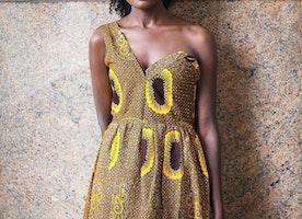 Scholla Dress, African print Maxi Dress