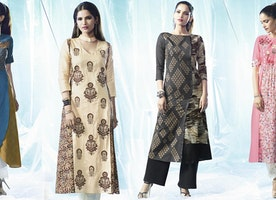 Cotton Kurtis: Indian Long Anarkali Embroidered & Printed Cotton Kurta Tops Designs Online Shopping