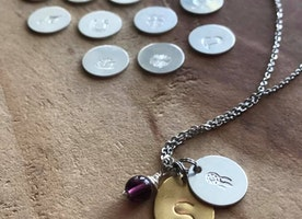 Personalized Initial, charm and birthstone necklace