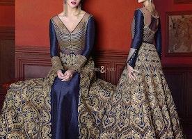 Striking Blue Silk Full Sleeves Designer Dress For Ladies