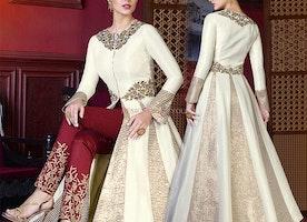 Likeable Off White Silk Sequins Designer Suit For Women