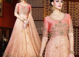Lovable Peach Net Embroidered Designer Party Wear Gown