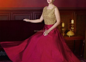 Enchanting Maroon And Beige Silk Open Back Indian Engagement Gown