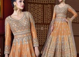 Captivating Orange Silk U Pattern Back Gown For Reception