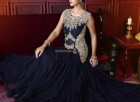 Fascinating Blue Georgette Sleeveless Wedding Gown
