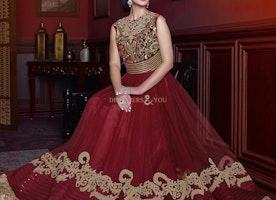 Chic Maroon Net Jewel Neckline Bridesmaid Gown