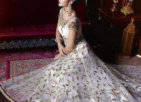 Smart White Net Cap Sleeves Long Designer Gown Online