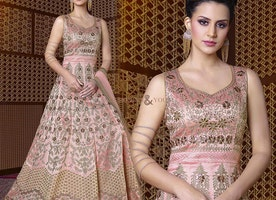Stylish Pink Silk Sweetheart Neckline Party Gown Online India