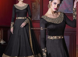Fashionable Black Silk Boat Neckline Indian Gown For Party