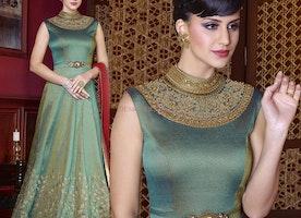 Beautiful Green Silk Turtle Neckline Long Indian Gown Dress