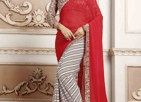 EXCEPTIONAL LACE WORK BEIGE AND RED HALF N HALF TRENDY SAREE