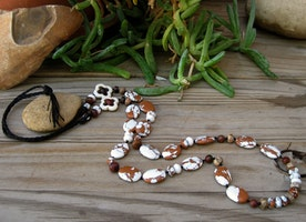 Handmade brown and white necklace.