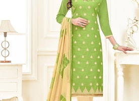 PRINCELY LINEN CREAM AND OLIVE EMBROIDERED WORK CHURIDAR DESIGNER SUIT