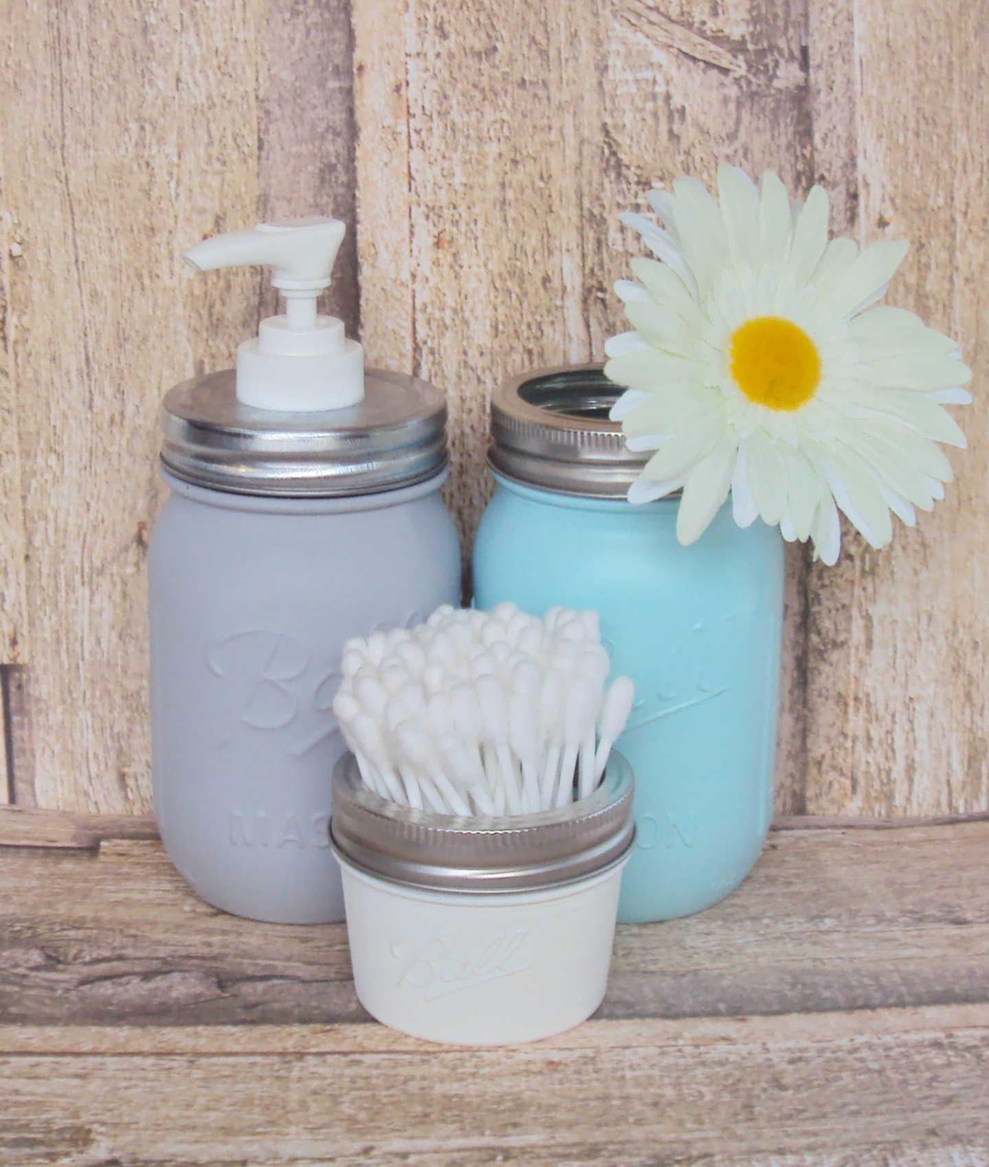 Gray, Blue And White Mason Jar Bathroom Storage Set And Soap Dispenser