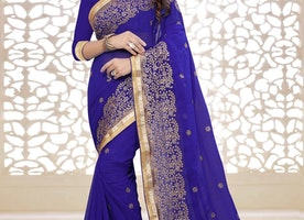 BEDAZZLING BLUE COLOR LACE WORK PARTY WEAR SAREE