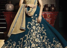 SPECTACULAR SHILPA SHETTY BEIGE AND TEAL FAUX GEORGETTE LONG LENGTH ANARKALI SALWAR SUIT