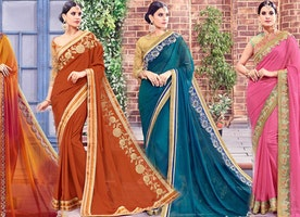 Party Wear Sarees Designs: Fashionable Women's Latest Stylish Indian Saree With Trendy Blouse Online