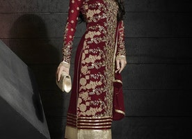 COMPELLING EMBROIDERY WORK DESIGNER SUIT