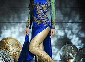 STAGGERING NET AND ART SILK PANT STYLE DESIGNER SUIT