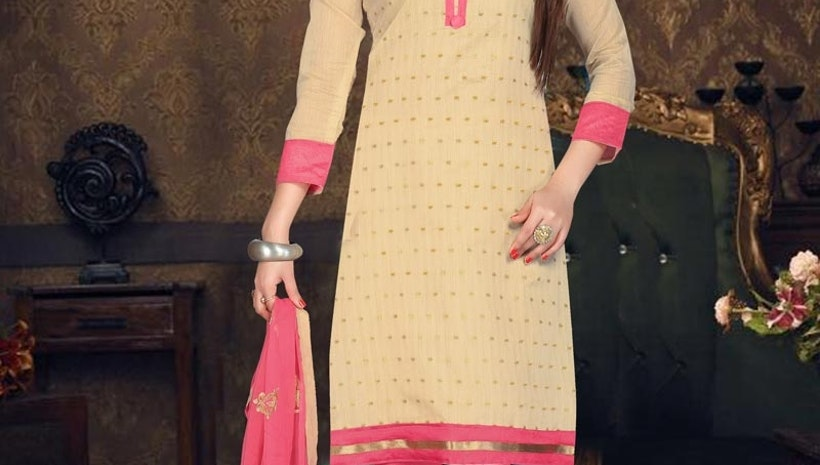 VIBRANT EMBROIDERED WORK TRENDY CHURIDAR SUIT